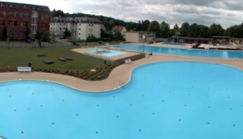 Outdoor pool Reichenbach panorama of slide