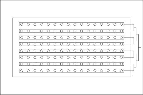 Beckenhydraulik Skizze 08 Einströmkanäle mit Tichelmann-Verteilung