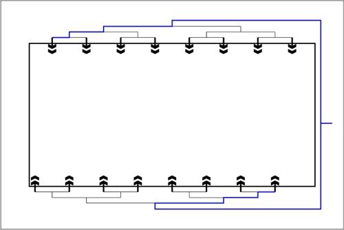 Beckenhydraulik Skizze 11 Horizontales System mit Tichelmann-Verteilung