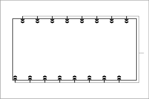Beckenhydraulik Skizze 12 Horizontales System mit berechneten Düsen
